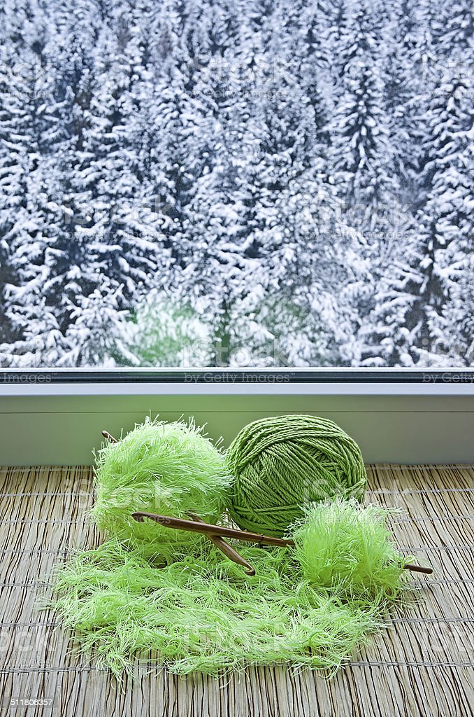 Skeins on windowsill stock photo