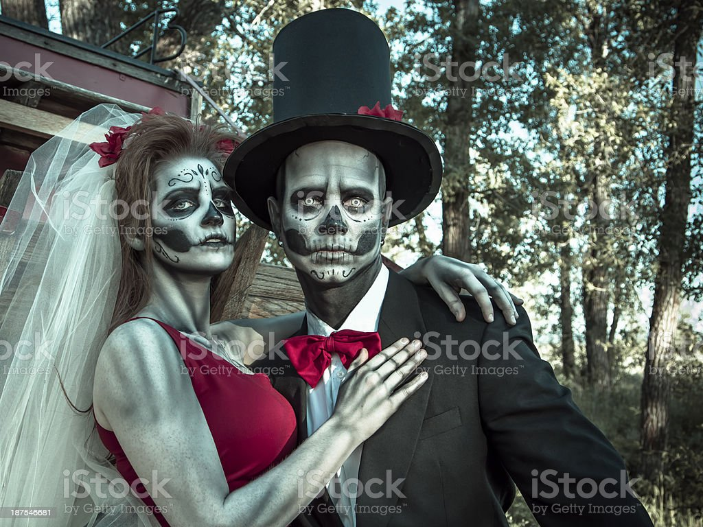 Skeleton bride and groom stock photo