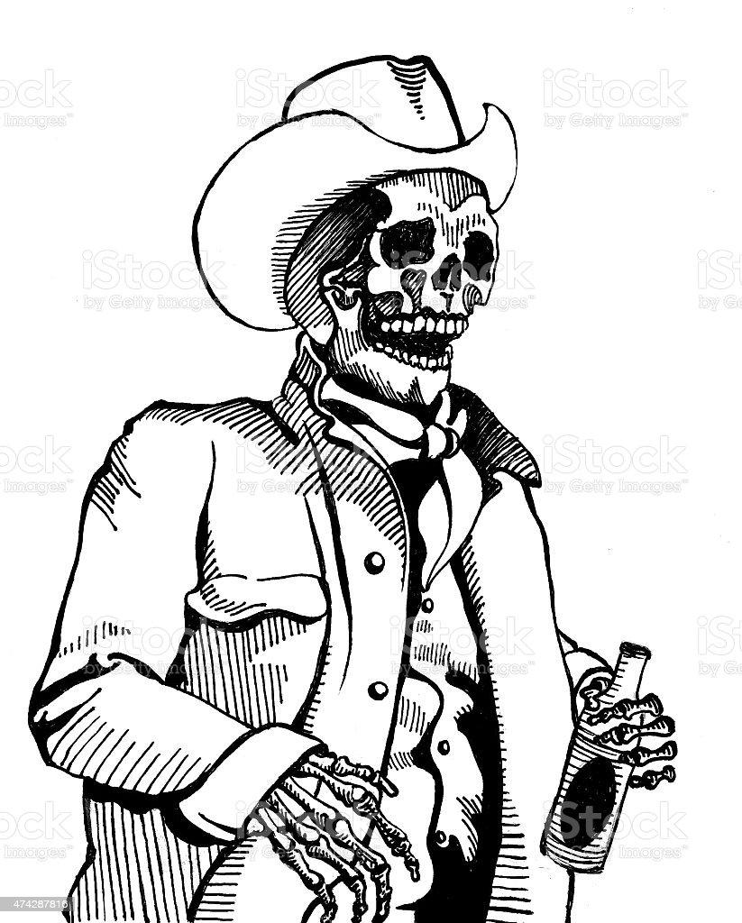 Skeleton Cowboy stock photo
