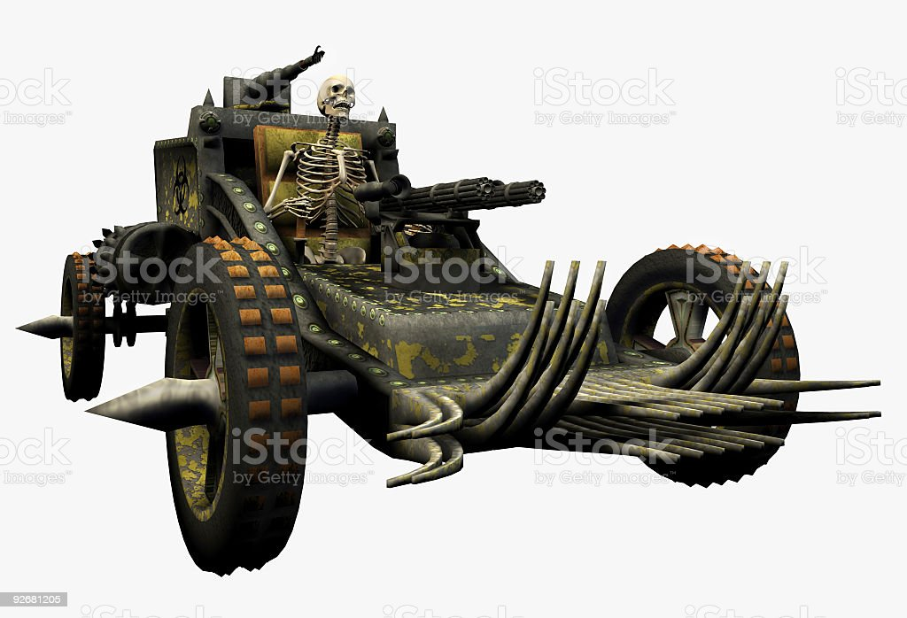 Skeleton Driving a War Machine - includes clipping path stock photo