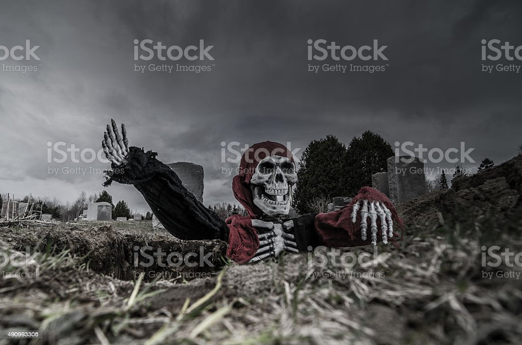 Skeleton getting out of a cemetery hole stock photo