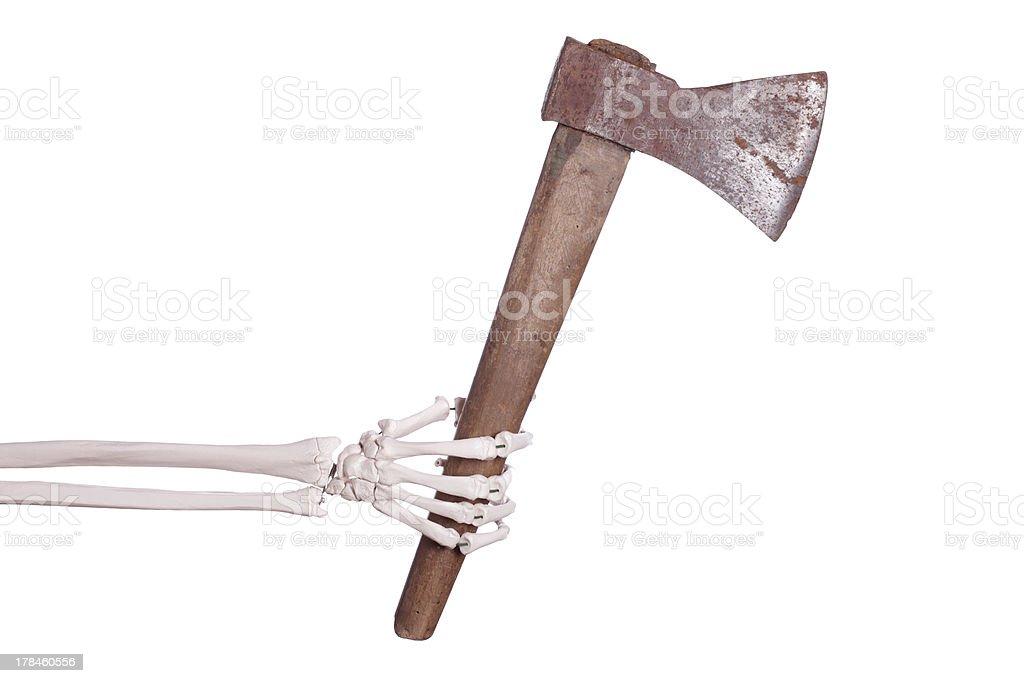 skeleton hand with axe stock photo