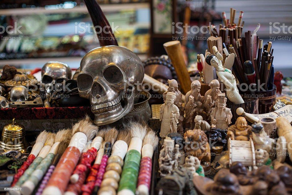 Skeleton in a souvenir shop stock photo