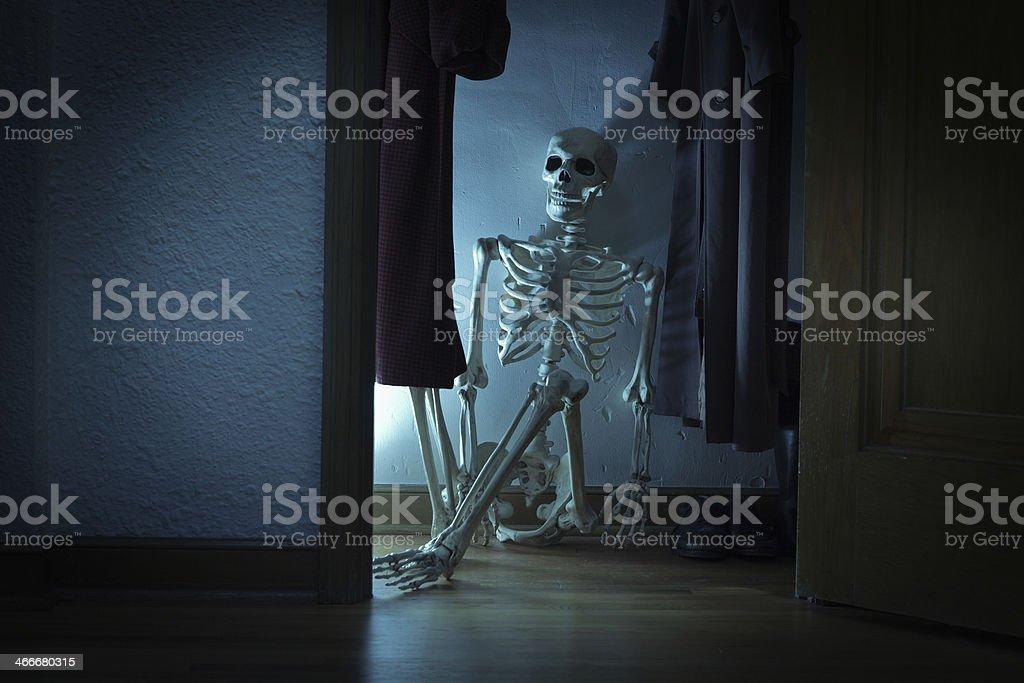 Skeleton in the Closet - Slumping Half Body Hz stock photo