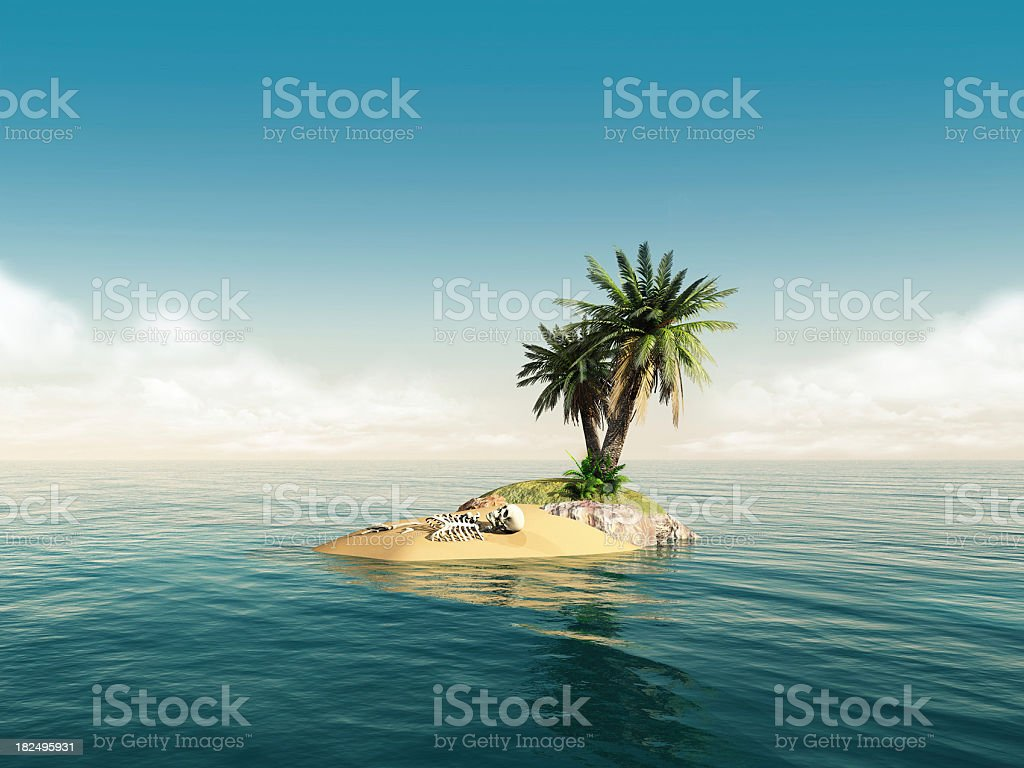 skeleton island stock photo