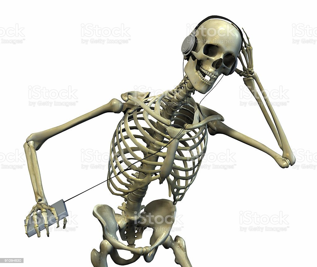Skeleton Listening to Music royalty-free stock photo