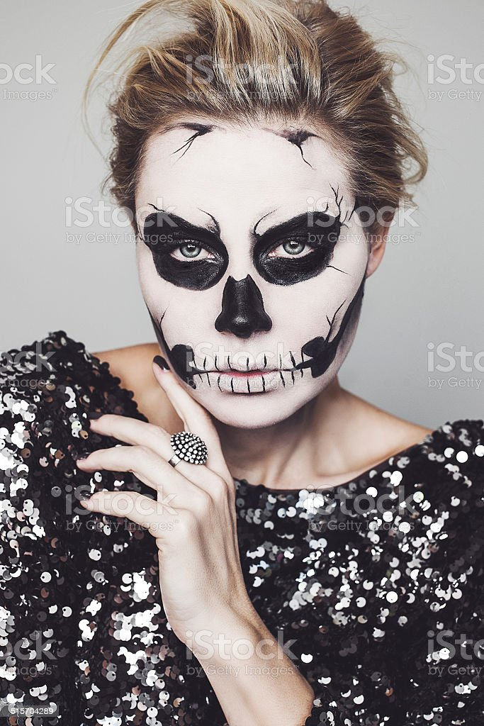 Skeleton make up stock photo