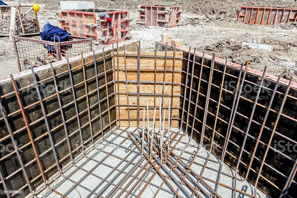 Skeleton of reinforcing steel in casting mold, armature stock photo