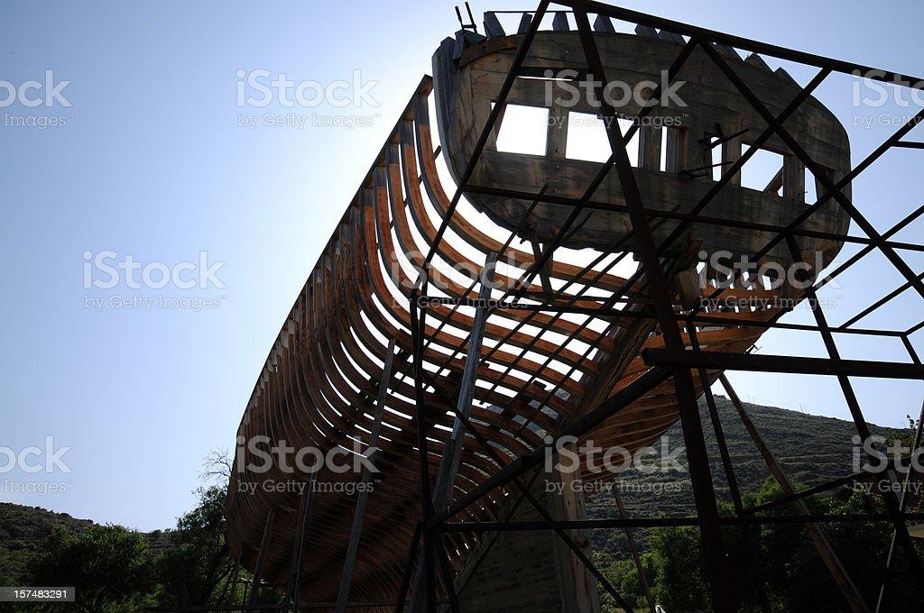 Skeleton of ship stock photo