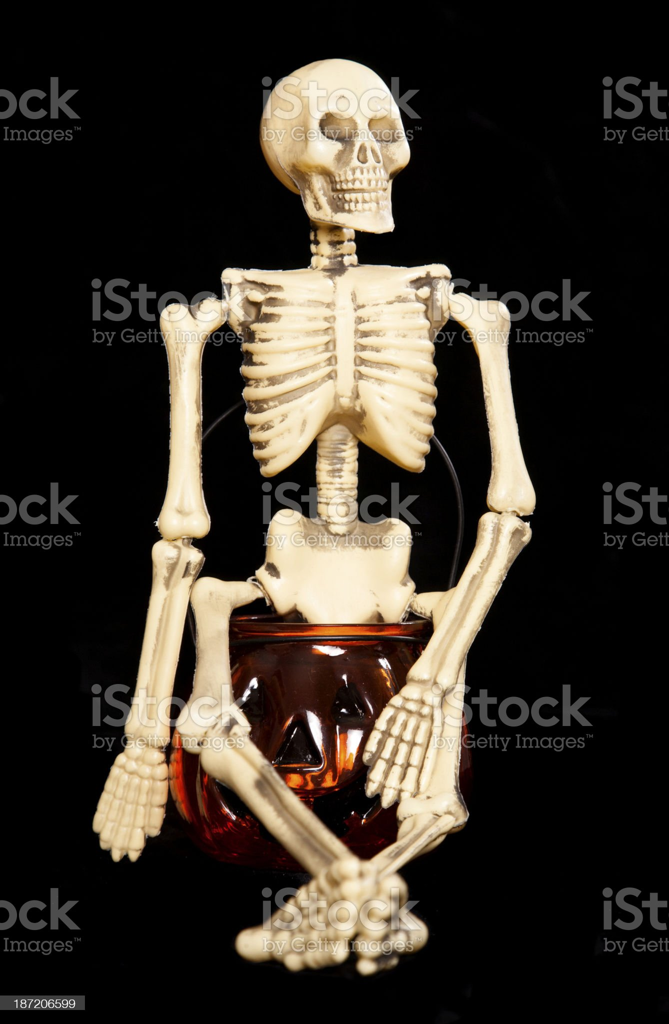 Skeleton sitting on a pumpkin jar royalty-free stock photo