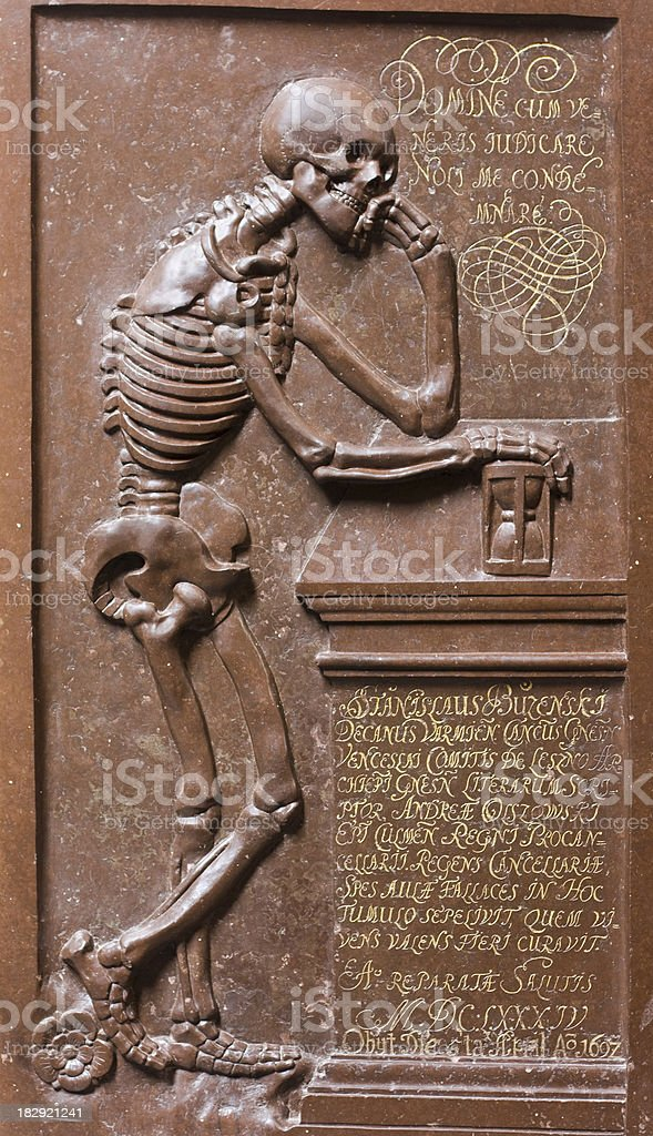Skeleton with hourglass royalty-free stock photo