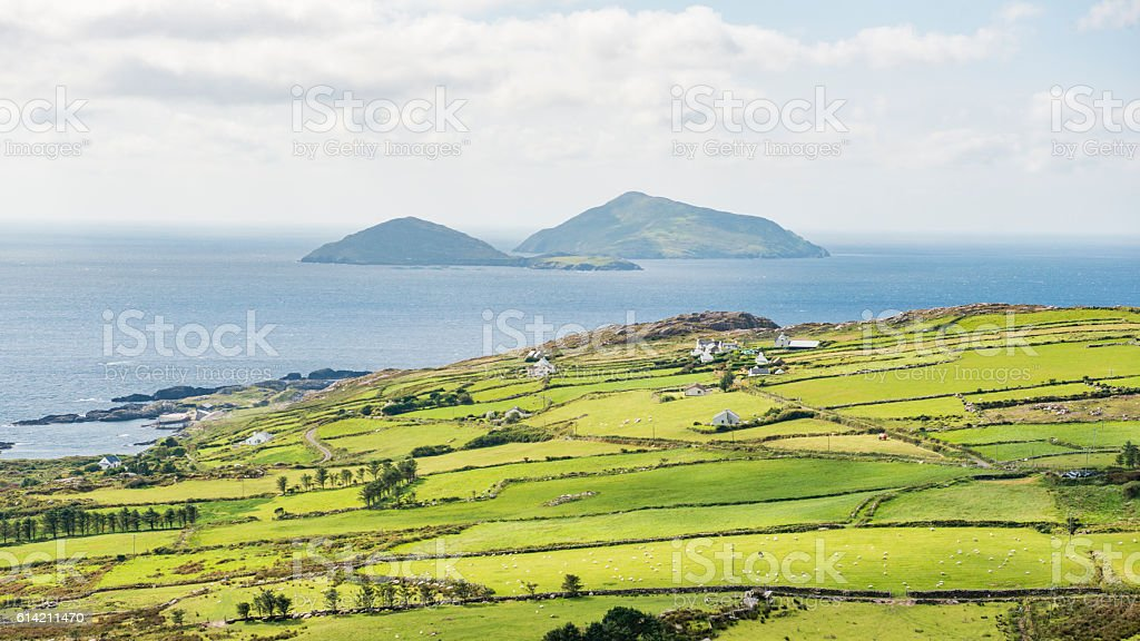 Skelling Islands from Ring of Kerry stock photo