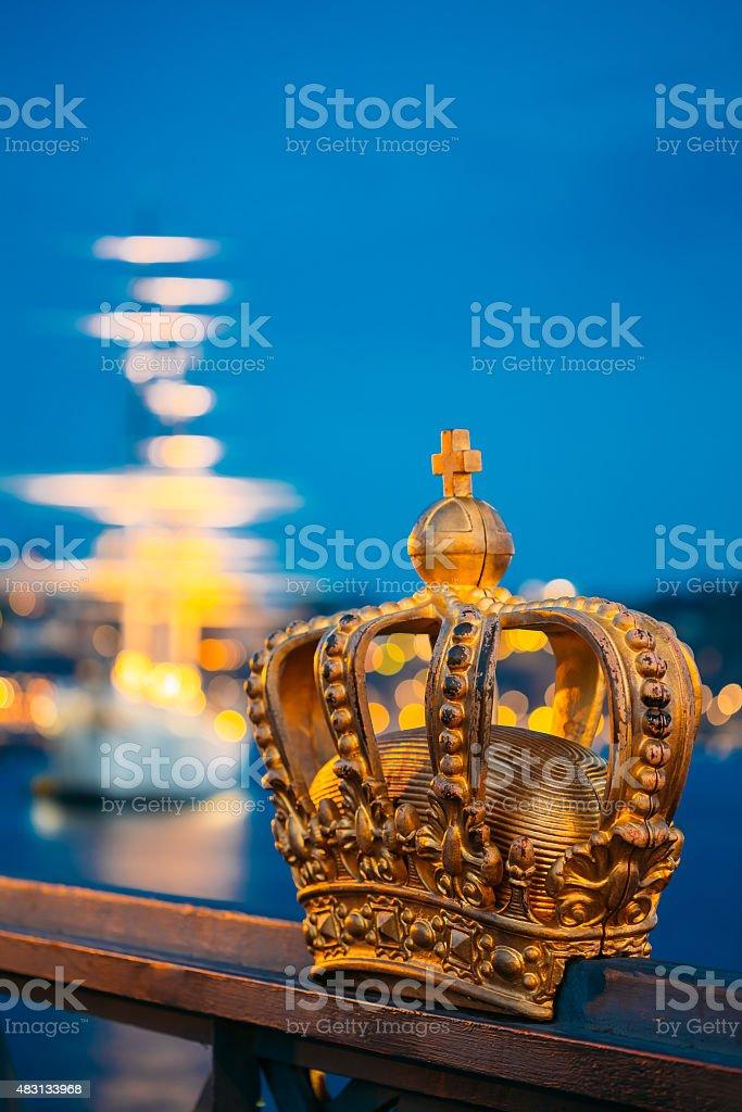 Skeppsholmsbron (Skeppsholm Bridge) With Its Famous Gilded Crown stock photo