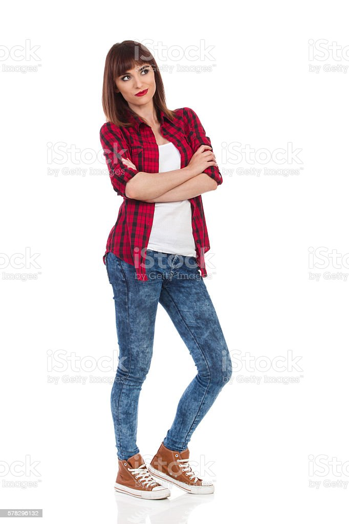 Skeptic Girl Looking Away Full Length stock photo