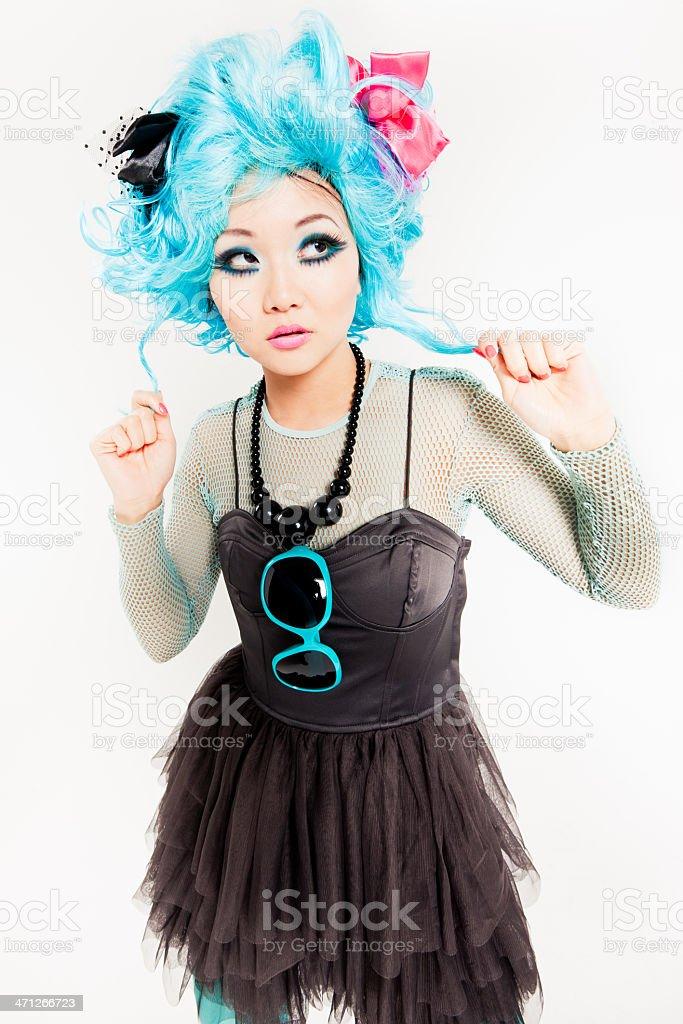 Skeptical Looking Punk Girl Manga Style stock photo
