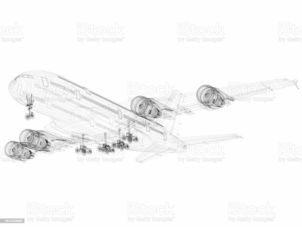3D Sketch architecture abstract Airplane A380-02 stock photo
