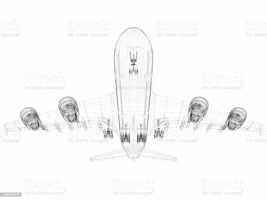 3D Sketch architecture abstract Airplane A380-04 stock photo