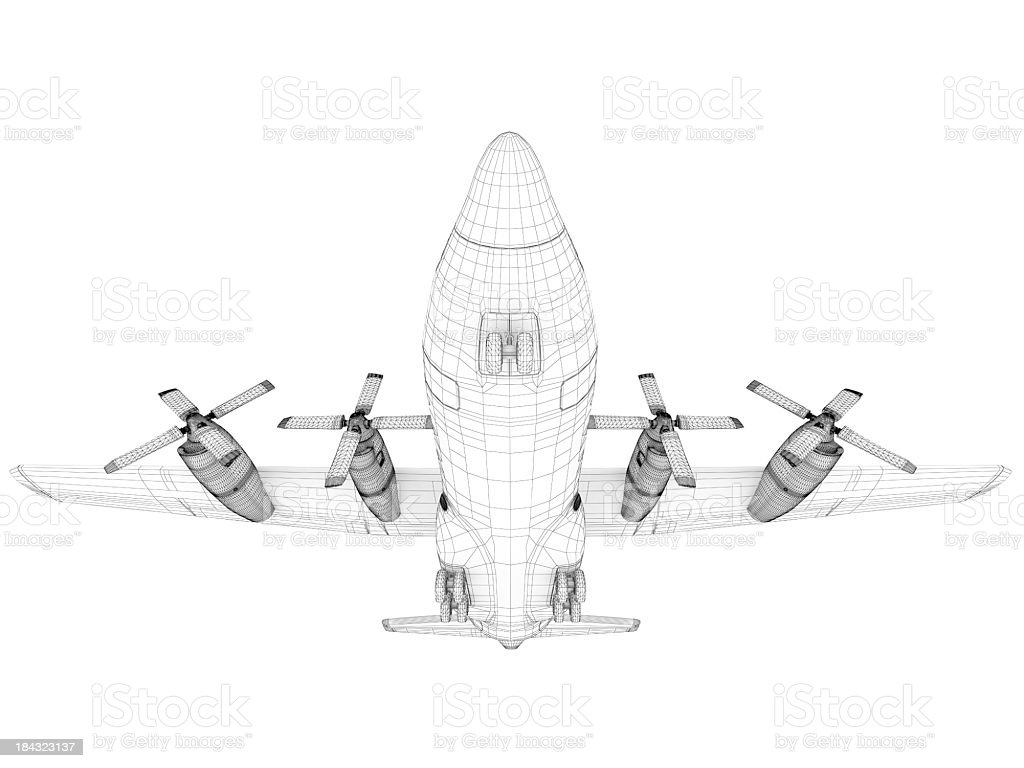 3D Sketch architecture  Cargo Military Transport Airplane  Lockheed C-130 Hercules royalty-free stock photo