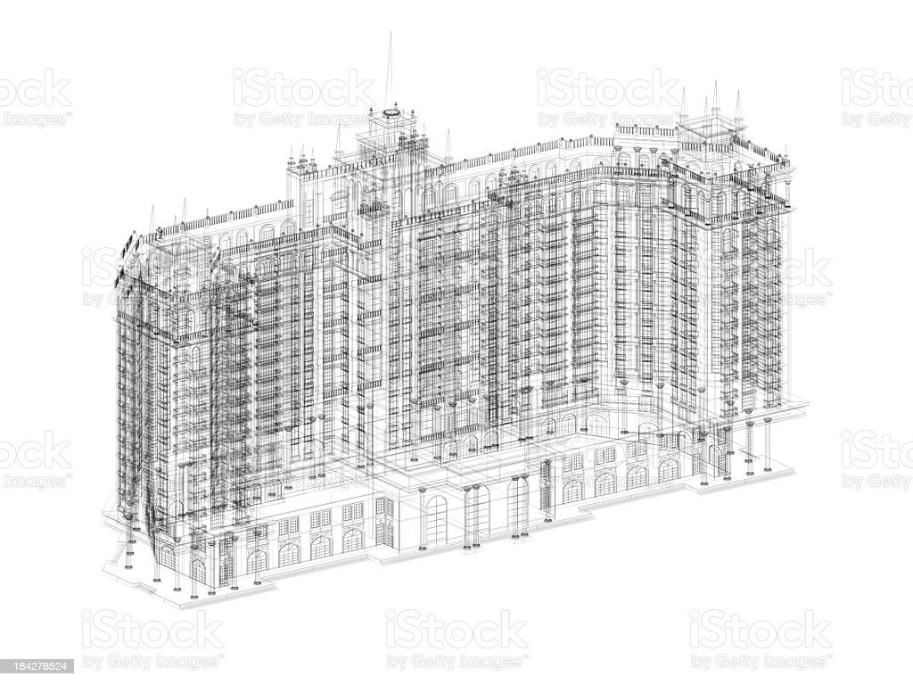 3D Sketch architecture royalty-free stock photo