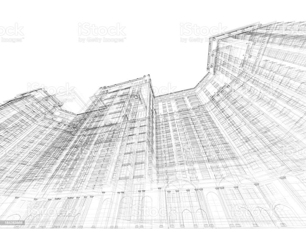 3D Sketch architecture Planning Construction Frame royalty-free stock photo