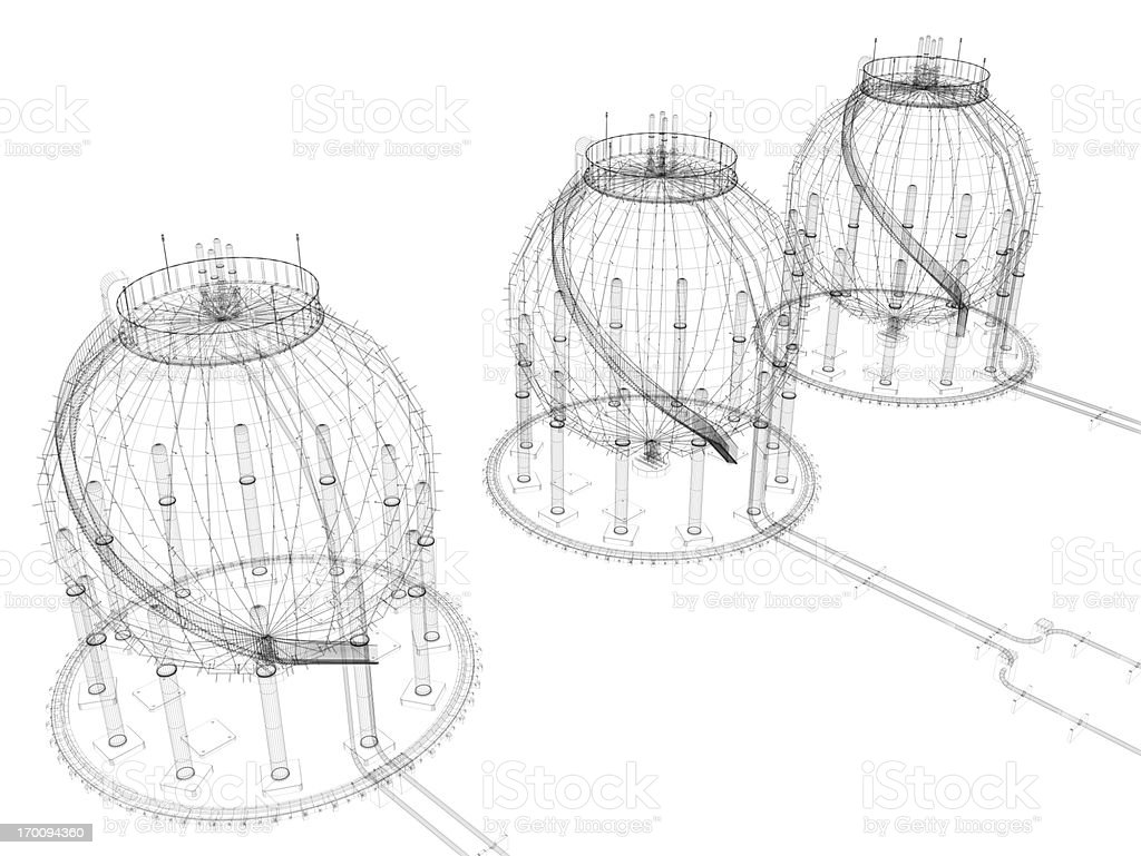 3D Sketch architecture Storage Tank stock photo