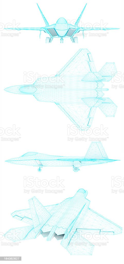 3D Sketch architecture US Air Force F-22 Raptor 4 stock photo