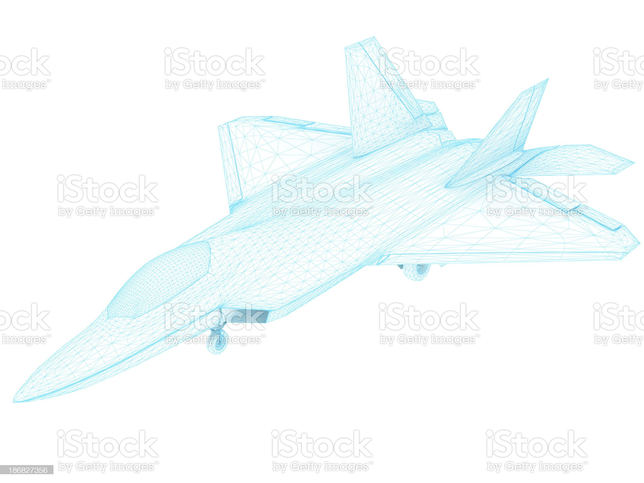 3D Sketch architecture US Air Force F-22 Raptor royalty-free stock photo