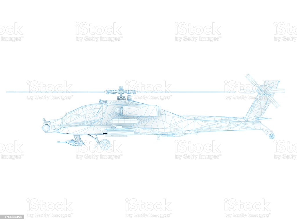 3D Sketch architecture US Army AH-64 Apache attack helicopter 1 stock photo