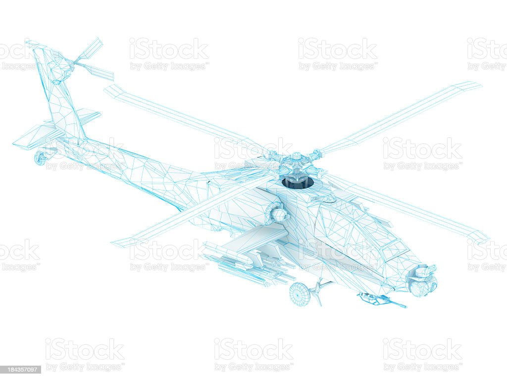 3D Sketch architecture US Army AH-64 Apache attack helicopter 3 stock photo