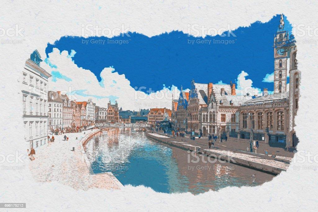 Sketch Art Ghent stock photo