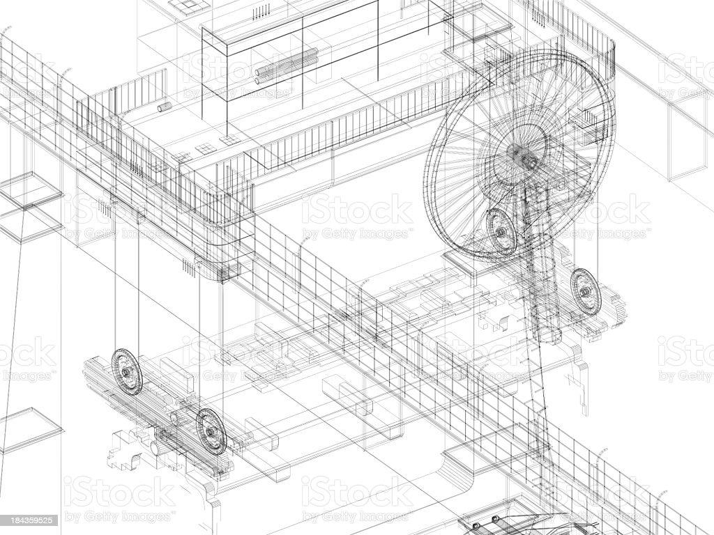 3D Sketch Blueprint Gantry Crane 4 stock photo