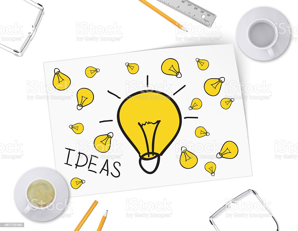 Sketch bulb on white sheet of paper. Full and empty stock photo