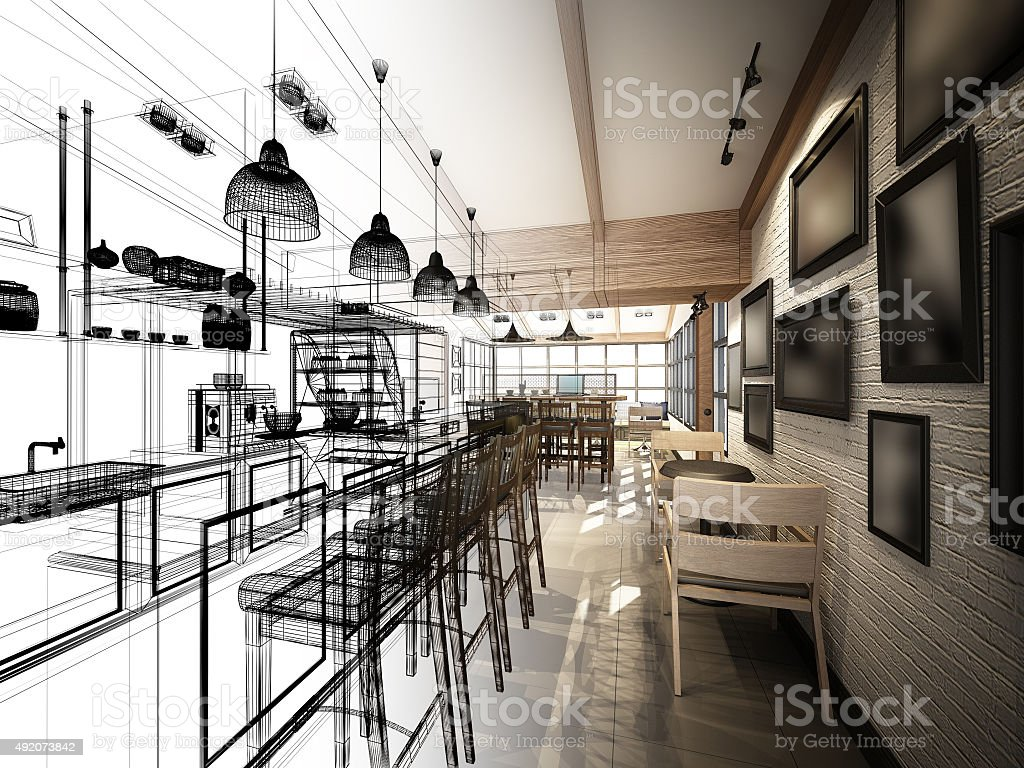 sketch design of coffee shop ,3dwire frame render stock photo