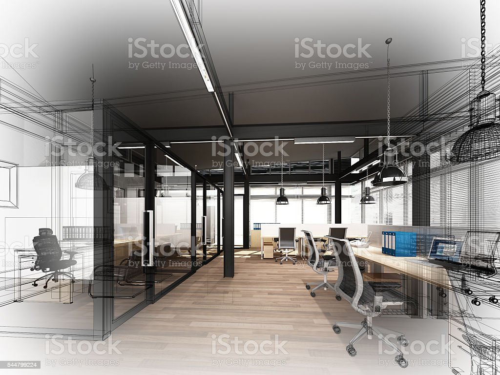 sketch design of interior office, 3d interior wire frame stock photo