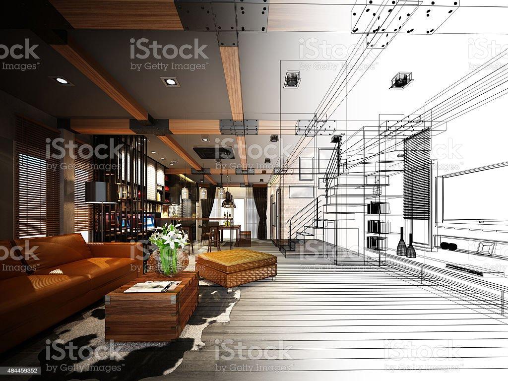 sketch design of living ,3dwire frame render stock photo