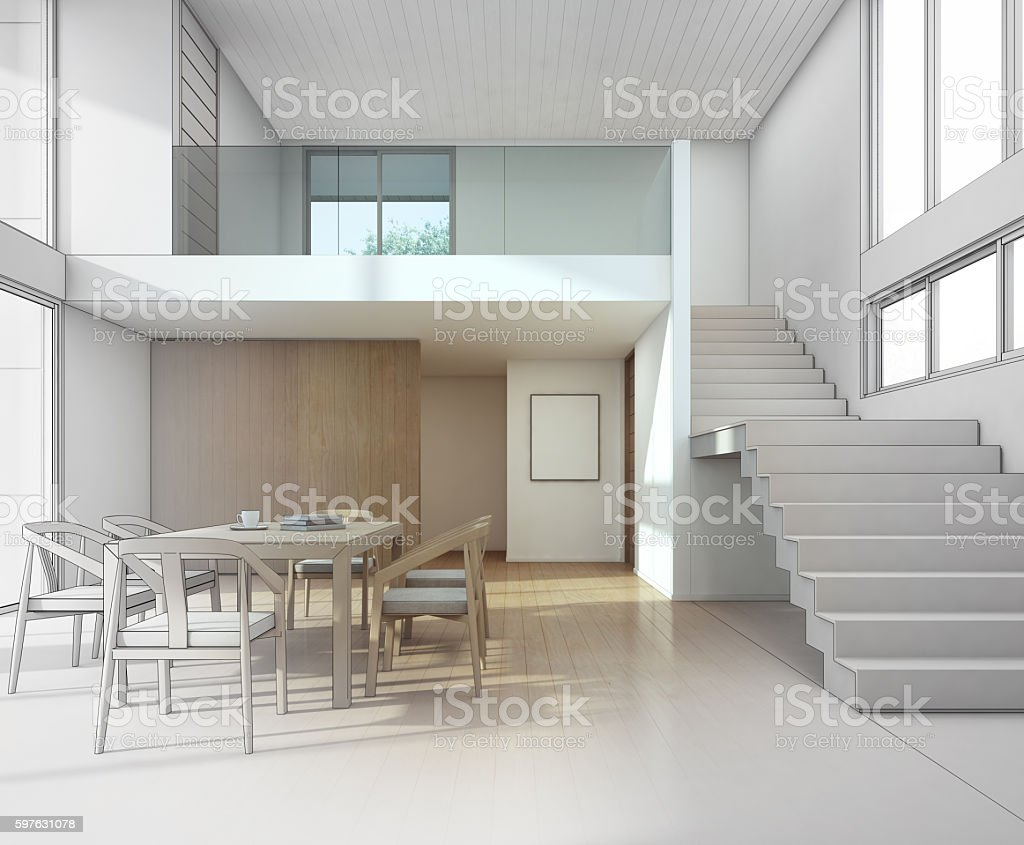 Sketch Design Of Meeting And Dining Room In Modern House Royalty Free Stock Photo