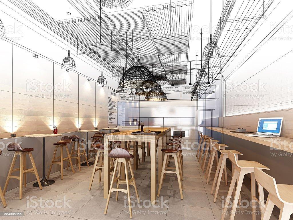 sketch design of resturant ,3d wire frame render stock photo