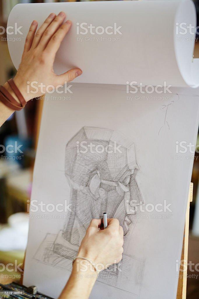Sketch in art class stock photo
