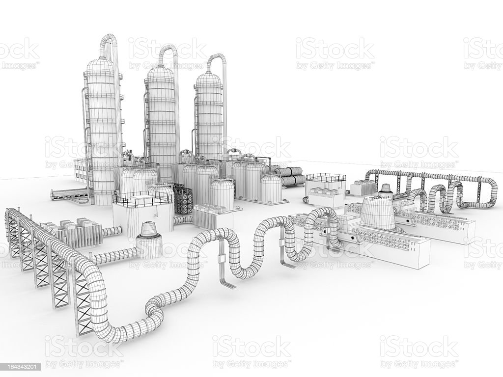 3D Sketch  Industry Fuel Storage Tank 1 royalty-free stock photo