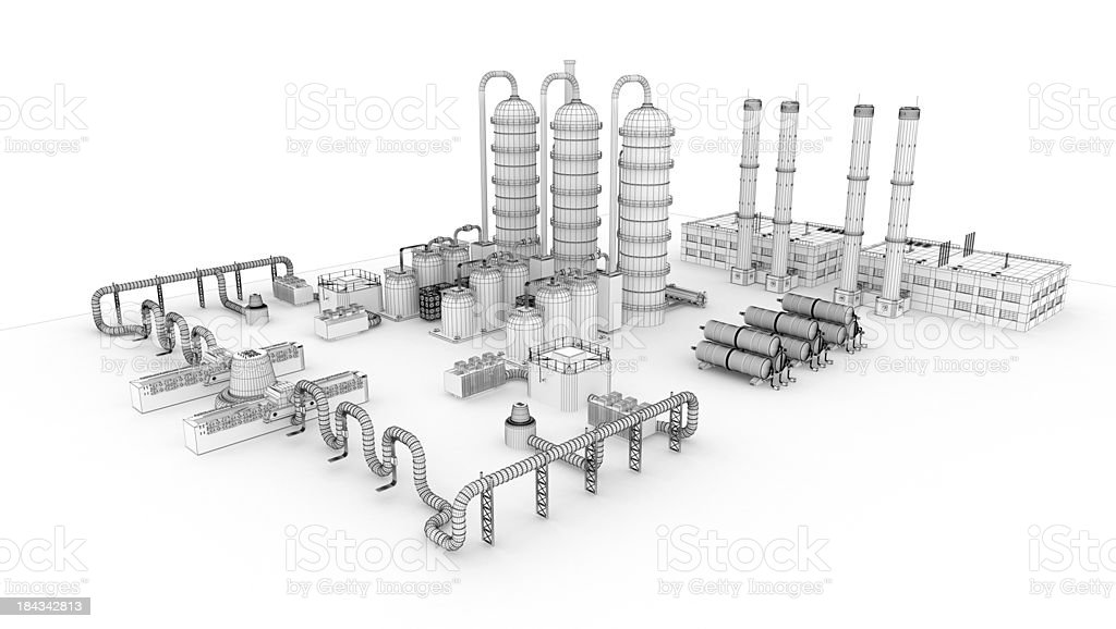 3D Sketch  Industry Fuel Storage Tank 2 royalty-free stock photo