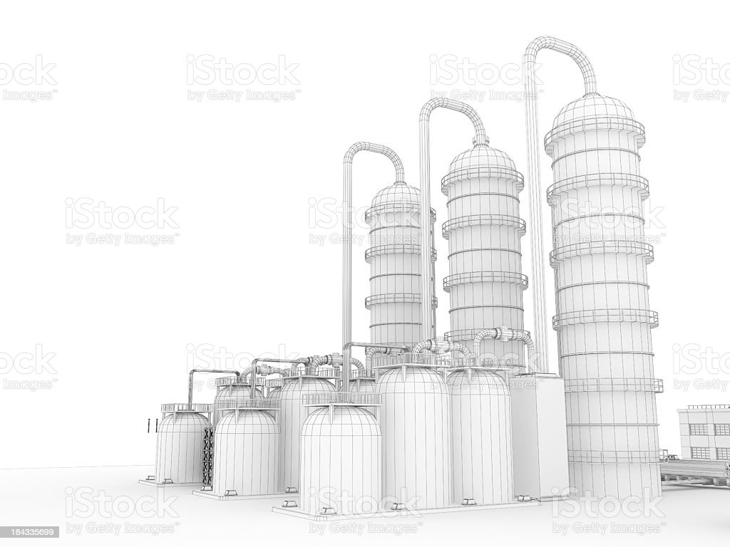 3D Sketch  Industry Fuel Storage Tank 4 royalty-free stock photo