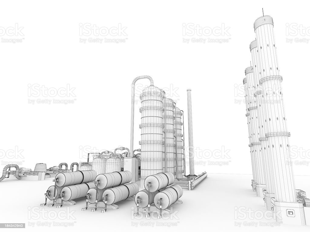 3D Sketch  Industry Fuel Storage Tank  5 royalty-free stock photo