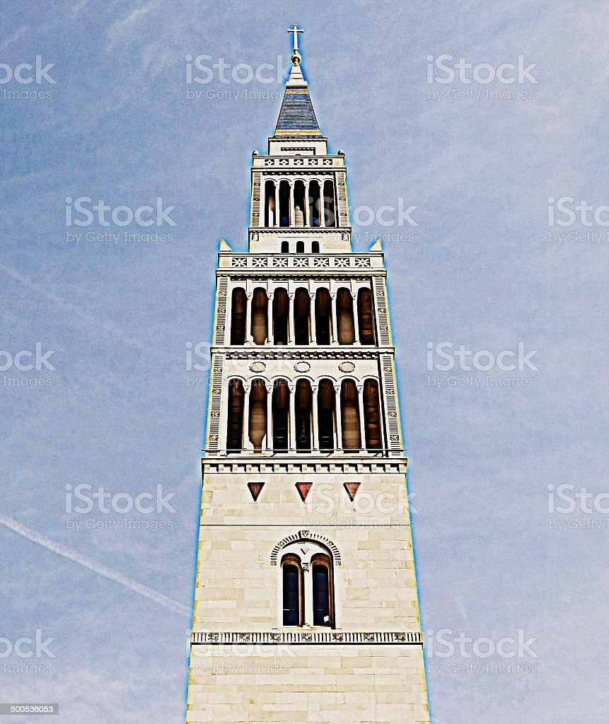 Sketch Look on Photograph of National Shrine Church Steeple stock photo