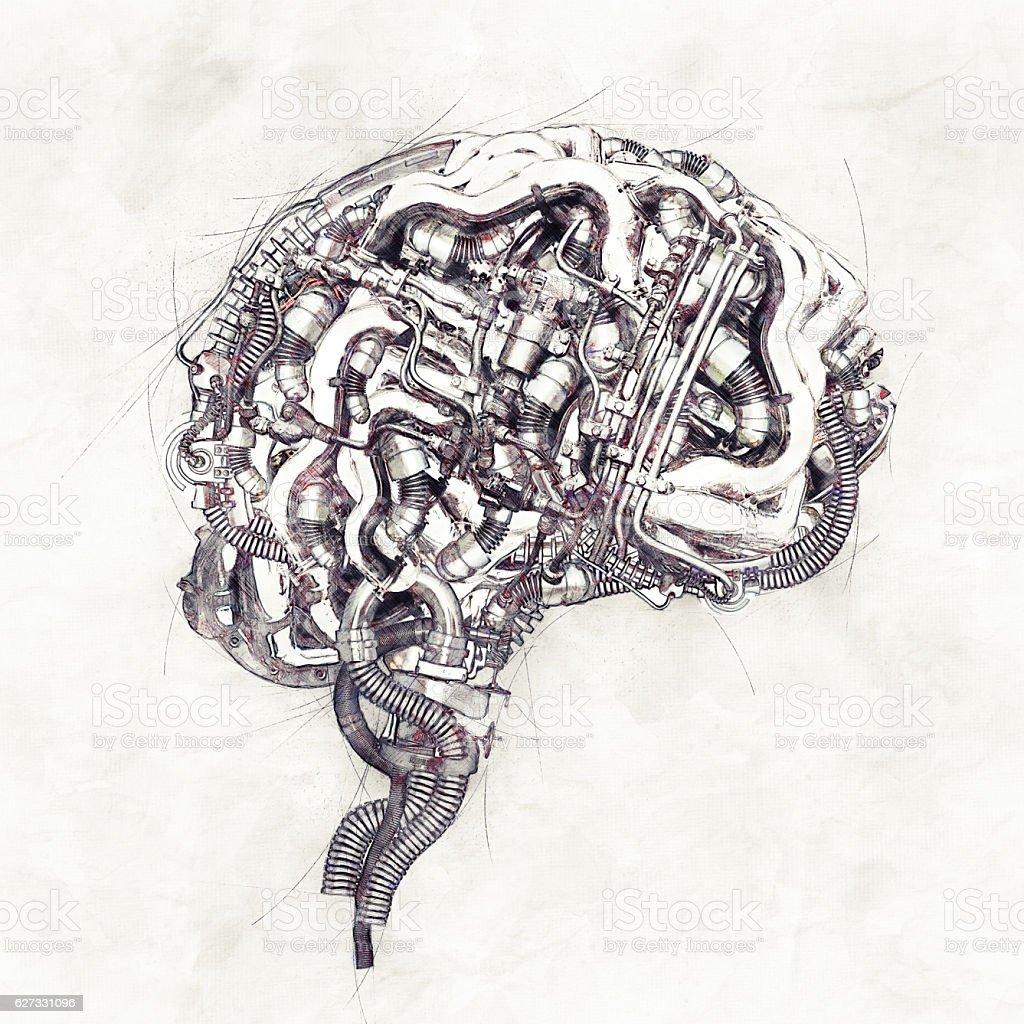 Sketch mechanical Brain, 3D Illustration stock photo