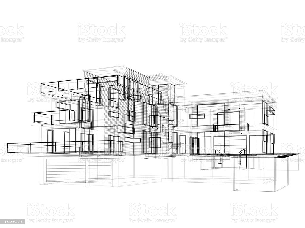 3D Sketch, modern house in wire frame layout side view stock photo