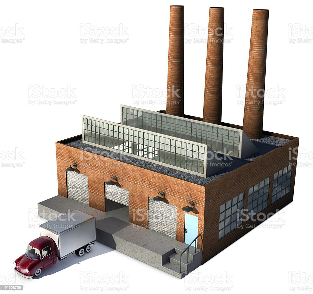 A 3D sketch of an ancient factory with a truck royalty-free stock photo