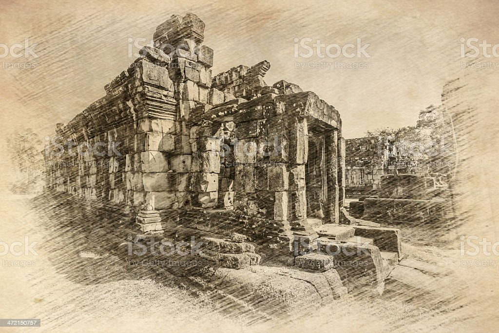 Sketch of Bakong Temple, Angkor stock photo
