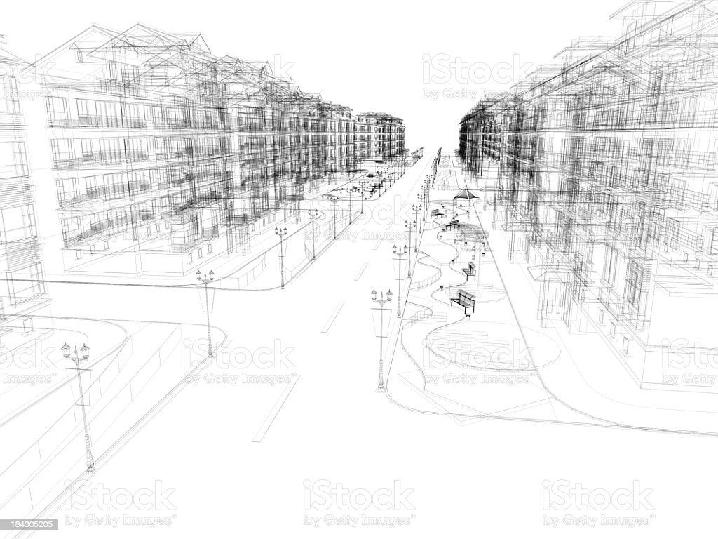 3D sketch of  building residential Structure royalty-free stock photo