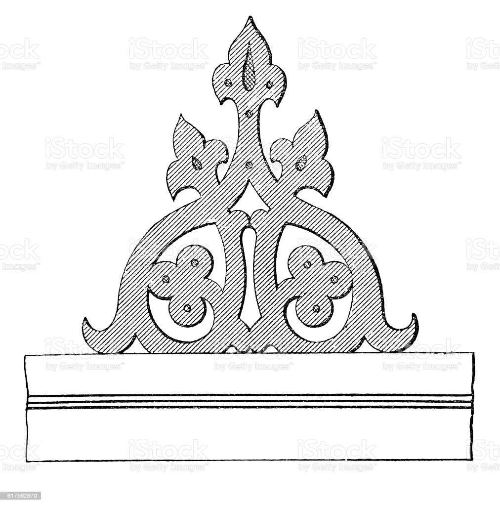 Sketch of cut woodwork for balconies vector art illustration