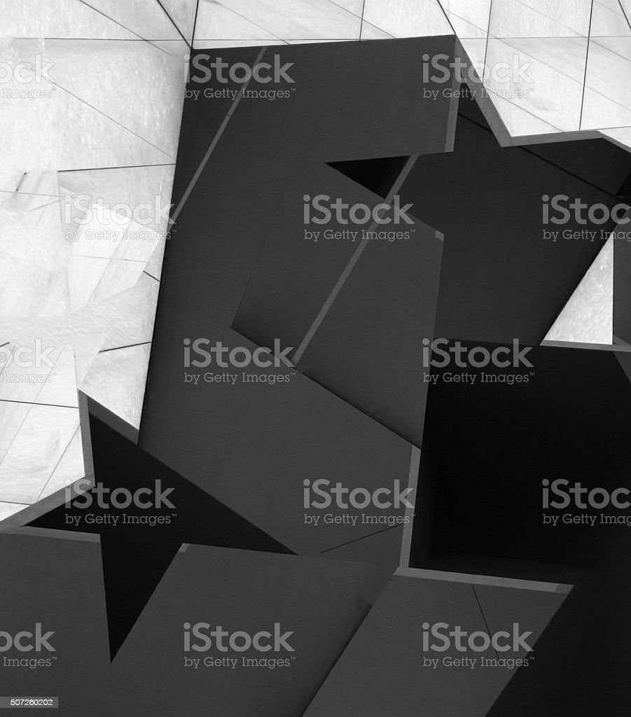 Sketch of matte glass facade. Entrance with star-shaped decorative elements stock photo